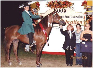 Lad's Red Rebecca Z. & Laura Atkinson winning Reserve in the English Pleasure Saddleseat Class at the 2005 Show and Celebration